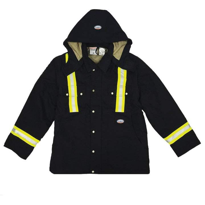 (FR3807BK/BLHC2426-S) REFLECTIVE BLACK HOODED UTILITY COAT