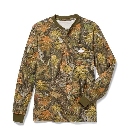 (FR0101WC/CNF462) LONG SLEEVE HENLEY T 100% COTTON WOODLAND CAMO