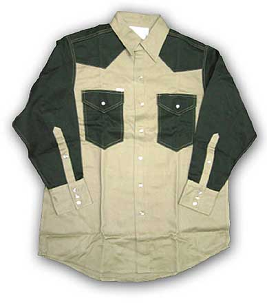 (FKG2003) KHAKI-GREEN Fire Retardant Shirt (10 OZ)