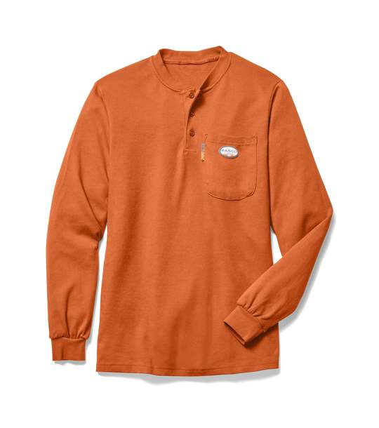 (FR0101OR/OTF455) LONG SLEEVE HENLEY T-SHIRT 100% COTTON ORANGE