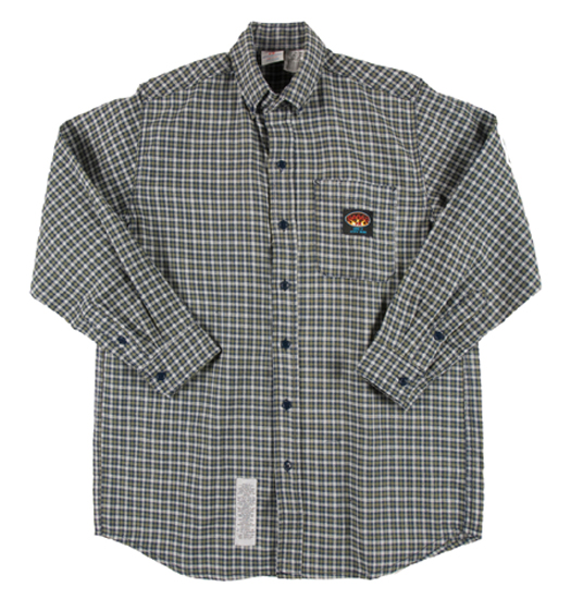 (PLG755) GREEN PLAID FR DRESS SHIRT (7.5 OZ)
