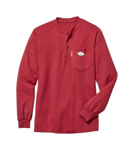 (FR0101RD/RTF459) LONG SLEEVE HENLEY T-SHIRT 100% COTTON RED